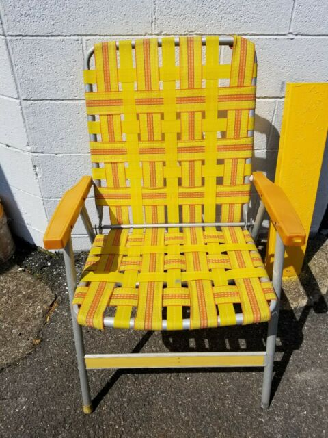 Vintage Folding Aluminum Chair Yellow & Orange Webbed Patio Lawn Chair