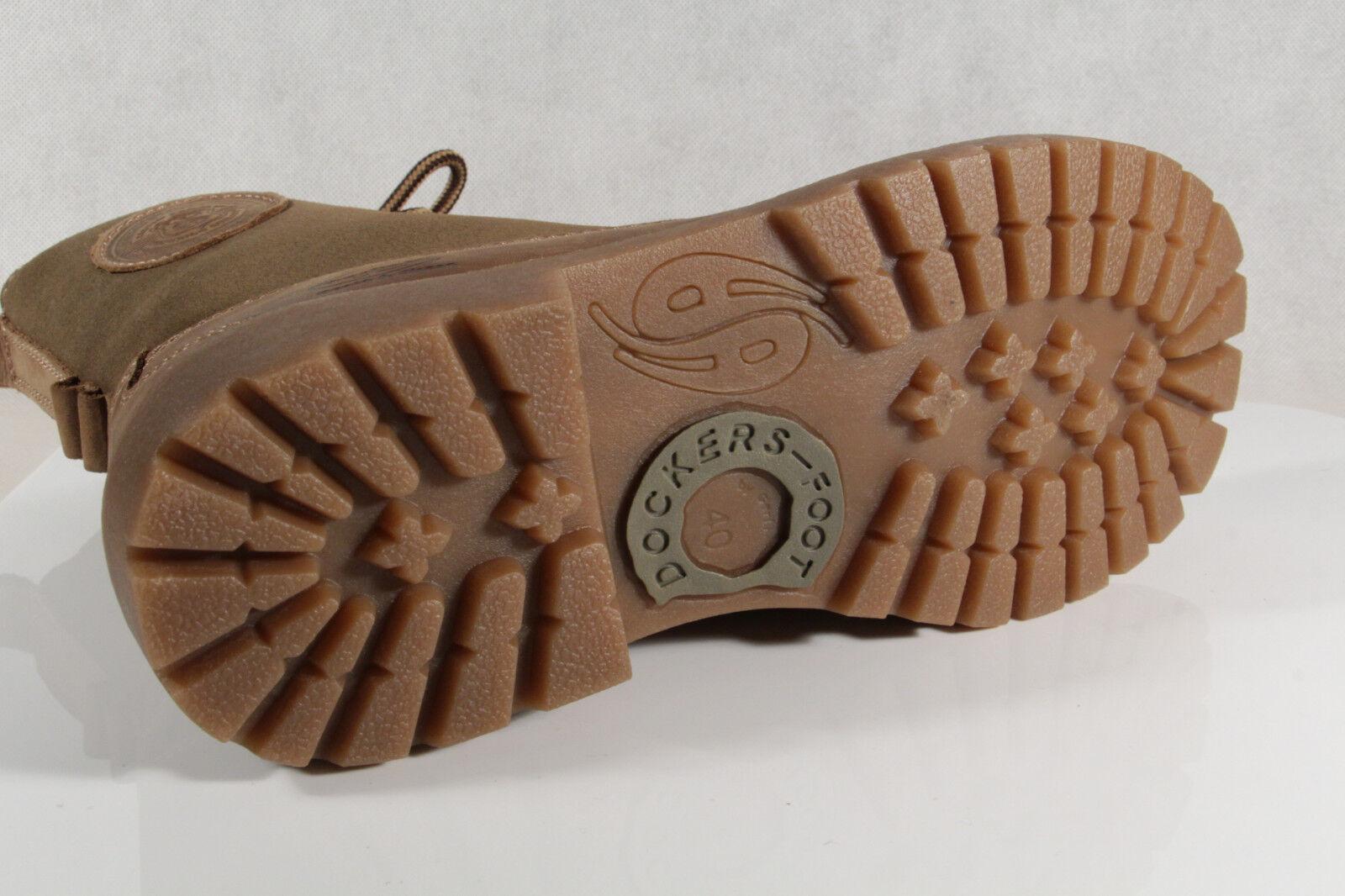 Grandes zapatos con descuento DOCKERS Mujer Botas Botas De Invierno Caqui Cuero Aut. NUEVO
