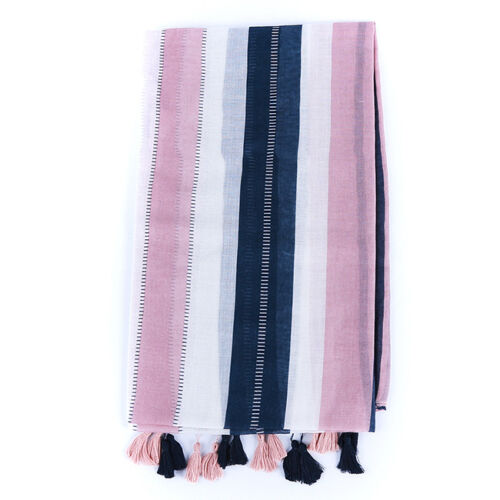 Pink Striped Cotton and Linen Tassels Scarf Wrap Shawl Scarves Fashion Stole N7