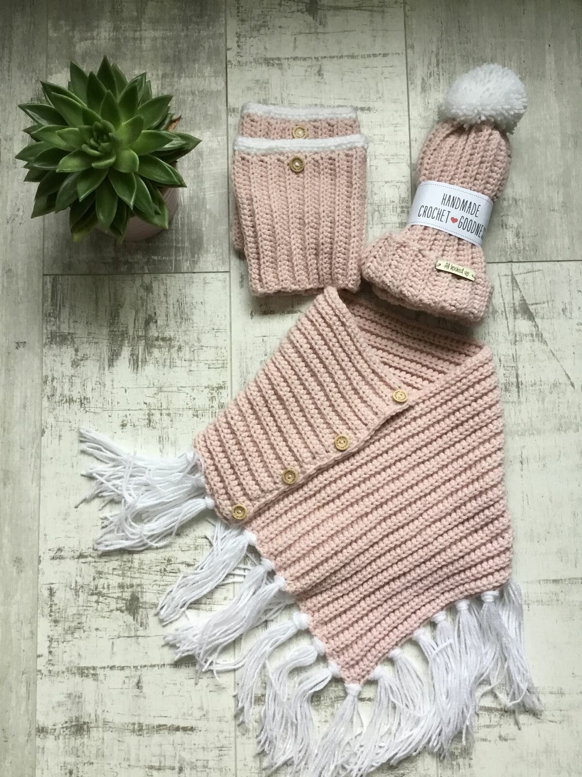 Pretty in Pink Scarf Hat and Boot Cuff Gift Set
