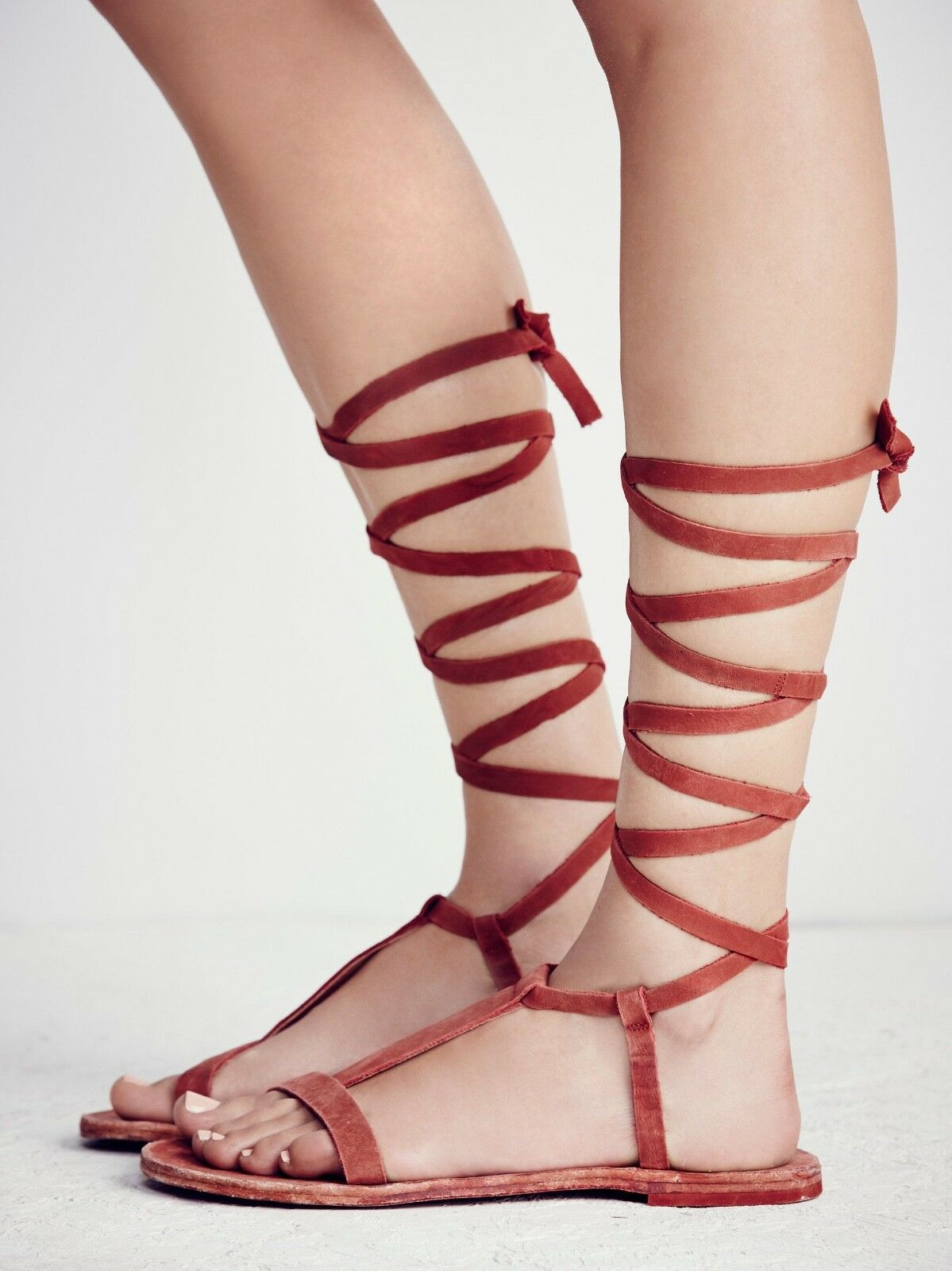 FREE PEOPLE TERRA COTTA LEATHER DAHLIA LACE UP SANDALS  37  7