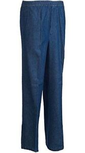 BENEFIT WEAR Adaptive Mens Pants-Full-Elastic Relaxed Denim Jeans with Mock Fly