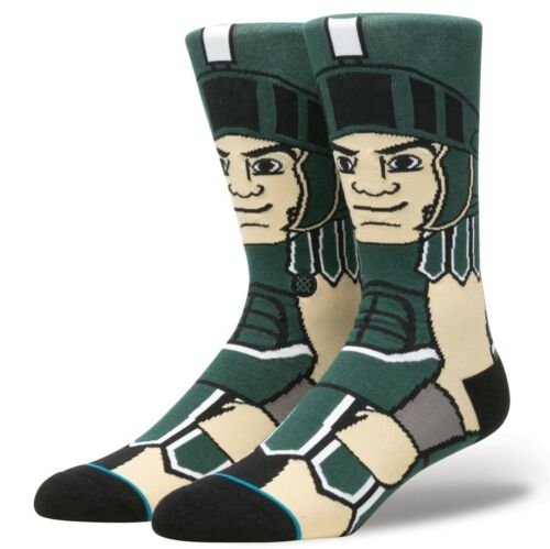 Michigan State Spartans Sparty Mascot Stance Socks Large 9-12 Men/'s NCAA College