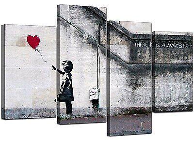 Extra Large Banksy Canvas Prints Balloon Girl 130cm XL Red | Set 4050