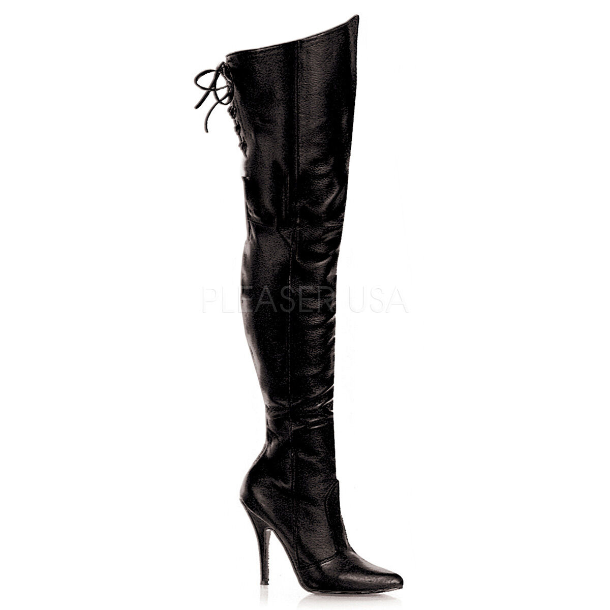 PLEASER Sexy 5  Heel Rear Lacing Black Leather Thigh High Boots LEG8899 B LE