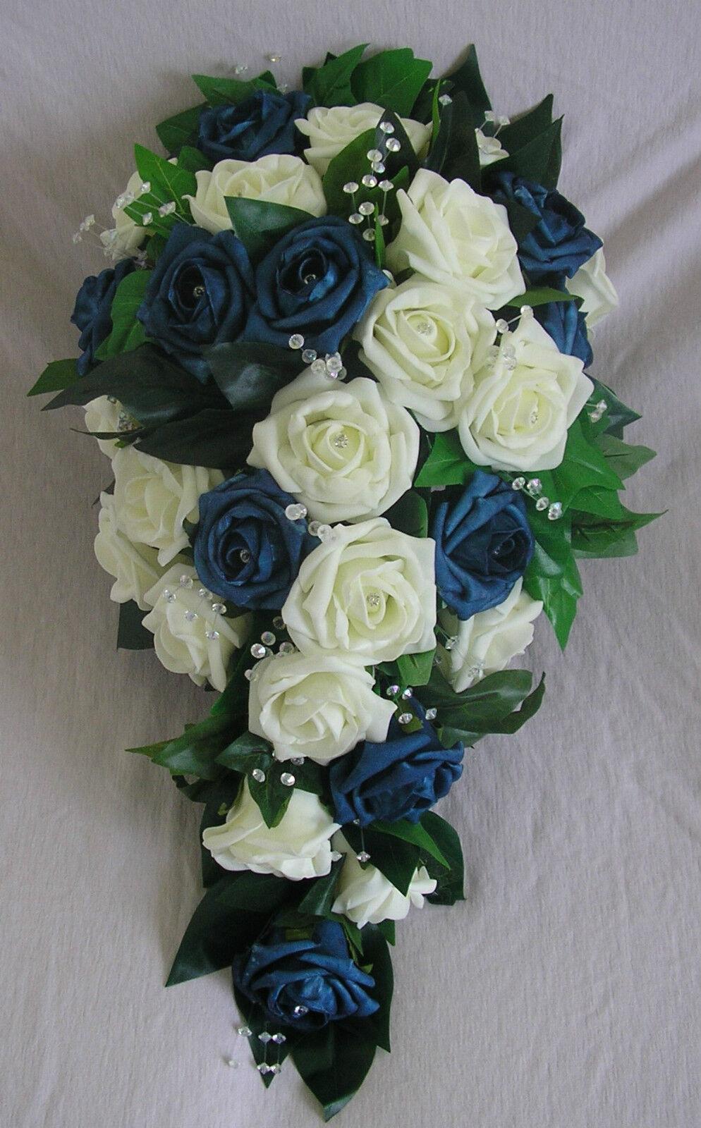 Mariage Ivy Fleurs Ivoire Bleu Marine Rose Mariée Mariage Ivy Mariage Larme Bouquet Artificielle 570e67