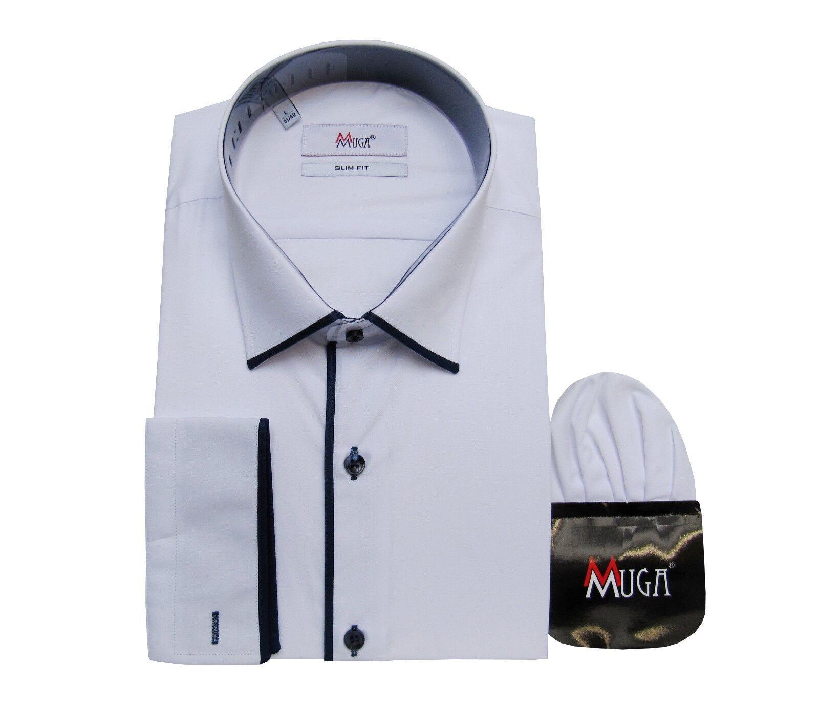 SLIM Fit Uomo Camicia +, fazzoletto TG 4xl Bianco Navy