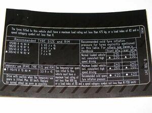 MINI R50 R52 Adesivo Etichetta di pressione pneumatici 6768341 71246768341