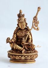 """Copper Alloy Gold Plated 3"""" Antiquated Gluru Rinpoche Statue From Patan, Nepal"""