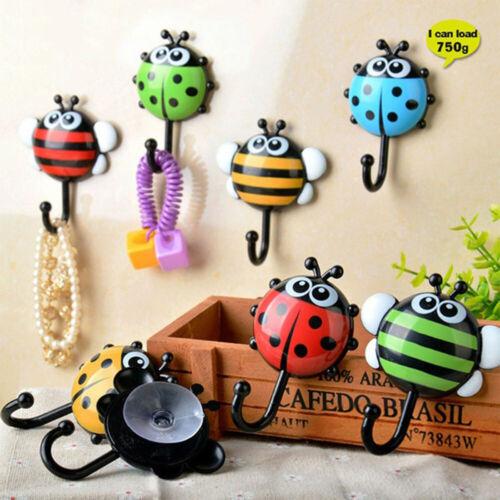 Organization Creative Ladybug Bee Cartoon Wall Hooks Sucker Sponge Key Hook RA6