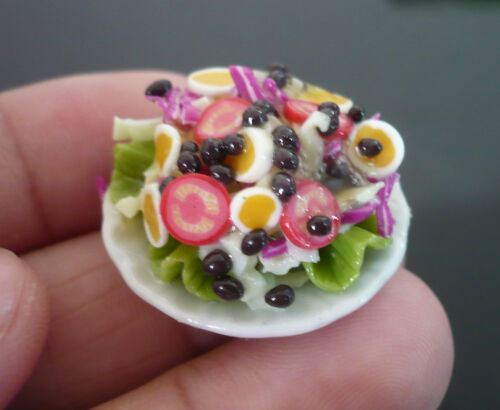 Green Salad on Plate Dollhouse Miniatures Food Supply Deco-6