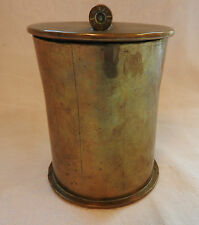 Military WWI Unusual Brass Trench Art Jar Lidded Container Dated 1919 (3213)