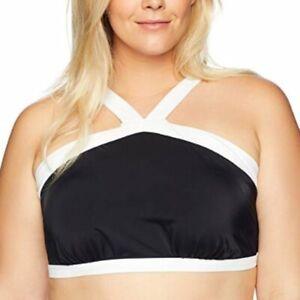 Coastal Blue Plus 2X high halter bikini top colorblock black with white trim NEW