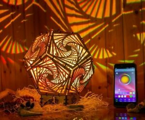 """Interior LED Lamp /""""Metatron Crystal/"""" wooden fixture geometric psychedelic lamp"""