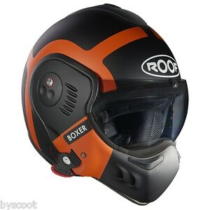 Casque convertible ROOF Boxer Bond noir orange mat 2017 jet moto scooter helmet