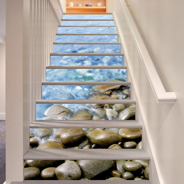3D Cobblestone 45 Stair Risers Decoration Photo Mural Vinyl Decal Wallpaper US
