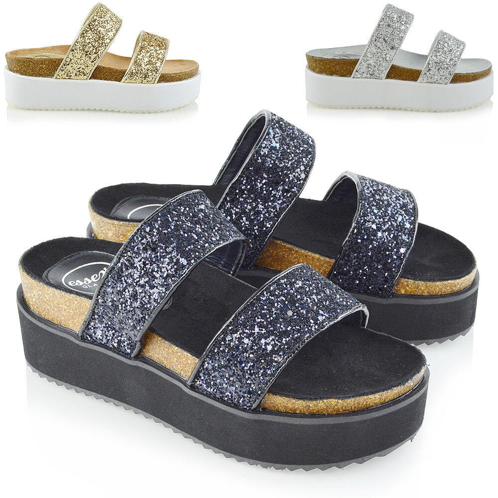Womens Platform Flat Wedge Heel Sandals Ladies Summer Holiday Flat Platform Two Strap Shoes 37782a