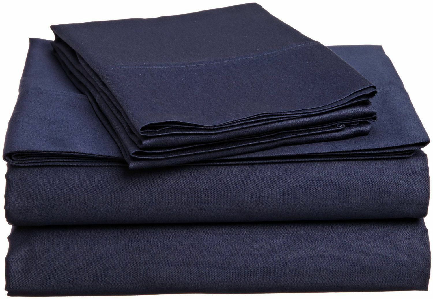 Elastic All Around Fits Fitted Sheet Navy Blau Solid All Deep Pkt & Größes 1000TC