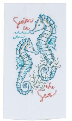 Swim in the Sea Seahorses Embroidered Flour Sack Kitchen Dish Towel