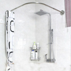 Image Is Loading Adjustable Curved Shower Curtain Rod 17 24inch Bath