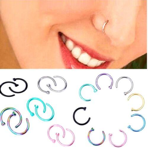 5-40Pcs Wholesale Steel Silver Nose Ring Hoop Cartilage Piercing Stud