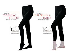 7ccb3b32d7e Image is loading LADIES-BLACK-THICK-FULL-FOOT-FOOTLESS-FLEECE-LINED-