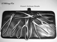 Bonsai 8 Pc Stainless Steel Tool Set Expert Grade in fine Leather & SALE PRICED