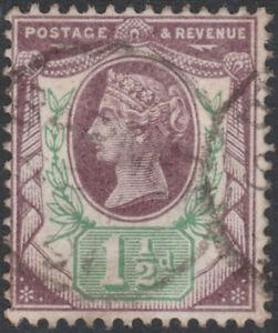 1887-JUBILEE-SG198-11-2d-DULL-PURPLE-amp-GREEN-034-HORNS-034-VARIETY-FINE-USED
