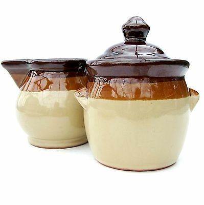 Vintage Farmhouse Brown Glazed Pottery Milk Jug & Sugar Bowl