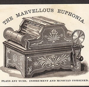 Marvelous Euphonia 1800's Steampunk Dance Music Crystal Blue Advertising Card