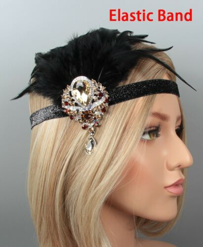 1920s Headband Black Feather 20s Vintage Bridal Great Gatsby Flapper Headpiece