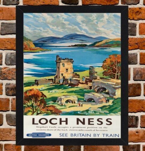 White Frame Framed Loch Ness Railway Travel Poster A4 A3 Size In Black