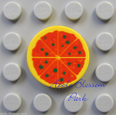 NEW Lego Minifig PIZZA w/Red - 2x2 Round Yellow Printed Kitchen Party Food Tile