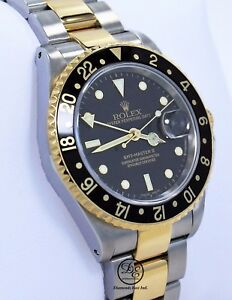 Rolex Gmt Master Ii 16713 Two Tone 18k Yellow Gold Ss Black Gold