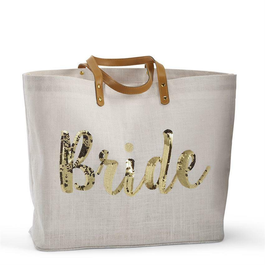 Mud Pie E0 Wedding Bride 15x22in Silver Sequin Bride Jute Tote Bag 4035007