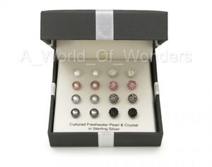 Cultured-Freshwater-Pearl-amp-Crystal-Sterling-Silver-8-pairs-Stud-Earring-Set-Box
