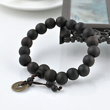 Black Peach Wood Buddhist Prayer Beads Bracelet Mala Bangle Wrist Coins Ornament