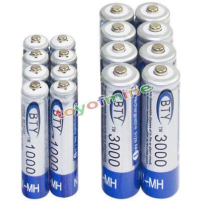 8 AA 3000mAh + 8 AAA 1000mAh battery Bulk Nickel Hydride Rechargeable 1.2V BTY