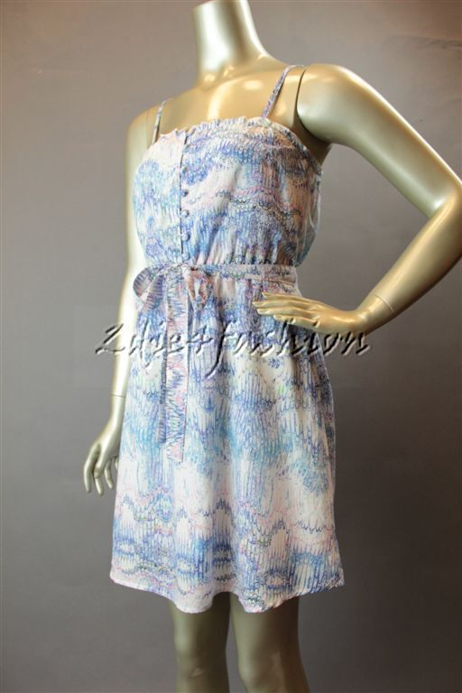 New with Tags MINK Rosa Pastel Careless Whisper Art Print Belt Sun Dress Large