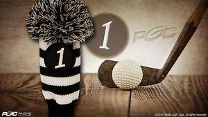 NEW-Driver-1-Vintage-Retro-Pom-Pom-Head-Cover-Knit-Sock-Black-Golf-Headcover