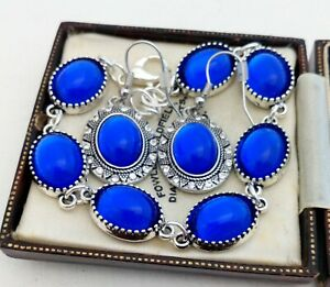 Vintage-Cobalt-Bristol-Blue-Glass-Small-Oval-Cabochon-Bracelet-Earring-Set