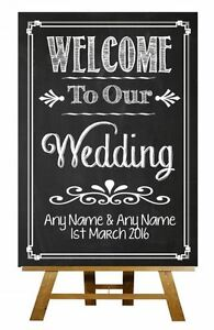 1770e78760882 Details about Chalkboard Welcome To Our Wedding Vintage Personalised  Wedding Sign / Poster