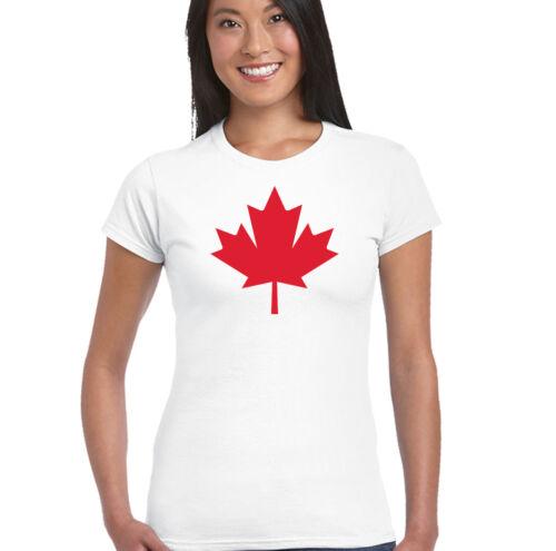 Canadian National Flag Maple Leaf Womens T-Shirt Canada Day Ice Hockey