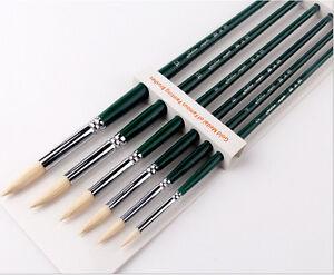 Oil-Acrylic-Paint-Brush-6pcs-Round-Hog-Bristle-Hair-Artist-Art-Painting-Brushes