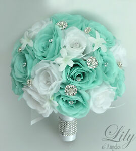 17 piece package silk flower wedding bridal bouquets tiffany blue image is loading 17 piece package silk flower wedding bridal bouquets mightylinksfo