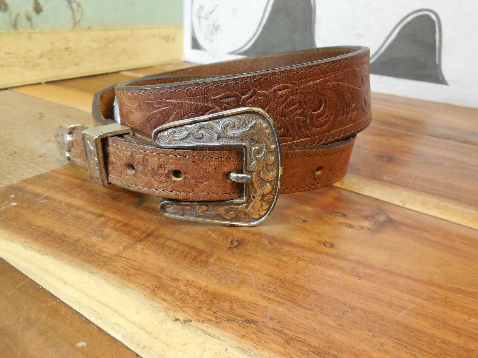 Justin Brown Leather Belt Size 30 #536BY Made in USA Heart Medallions CUTE!!