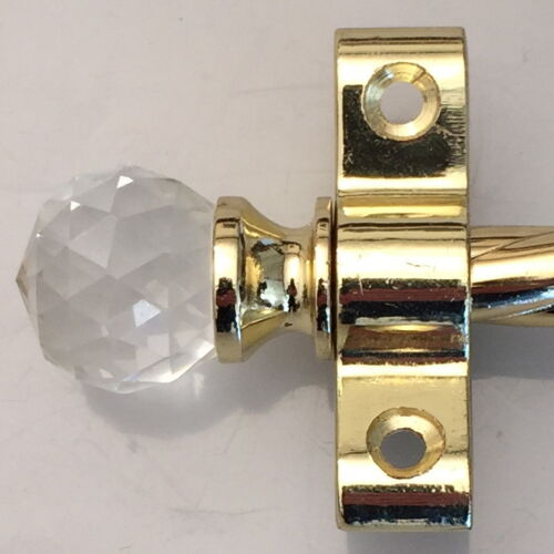 ROPE POLISHED BRASS 3//8 INCH STAIR RODS CRYSTAL FINIAL R01ROCC