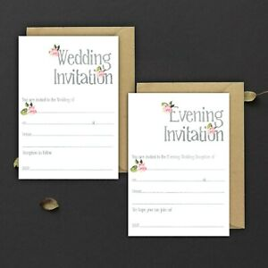 WEDDING-INVITATIONS-BLANK-GREY-WATERCOLOUR-amp-PINK-FLORAL-DAY-amp-EVE-PACKS-OF-10