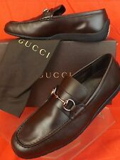 NIB GUCCI COCOA LEATHER HORSEBIT SCRIPT LOGO MOCASSIN LOAFERS 11 12 #295314 $895