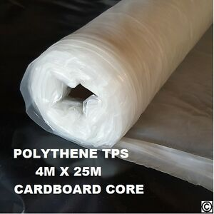 3 Rolls Clear Builders Polythene Plastic Sheeting Roll Tps